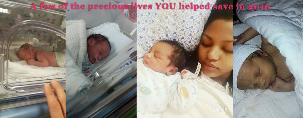 Picture of just four of the babies whose lives your generosity saved in 2016.